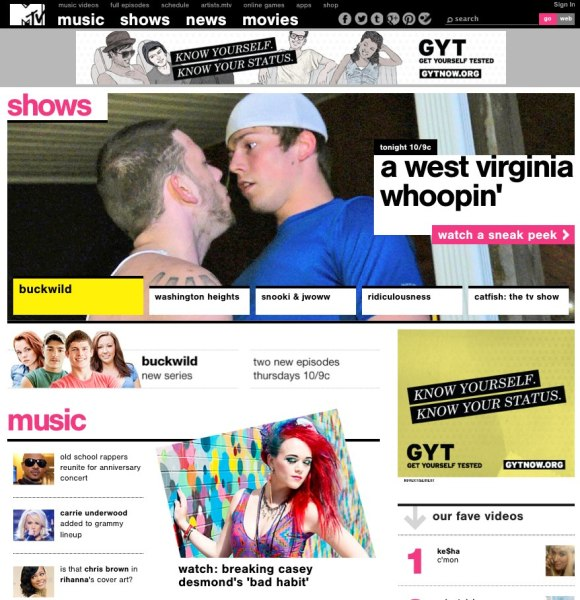 Casey Desmond on MTV.com's homepage wearing Skiler Love jewelry. Photographed: Cherokee earrings, The Grunge Affair Necklace, Various Bracelets